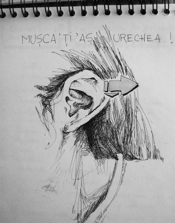 Felt-tip pen on paper - Sketch for a drawing
