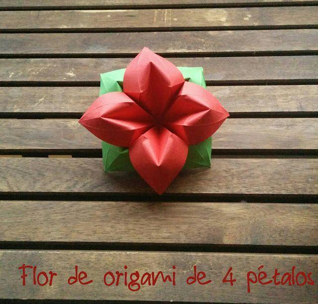 The 54 best my origami images on pinterest origami christmas tree flor de origami de 4 ptalos four petal flower origami mightylinksfo
