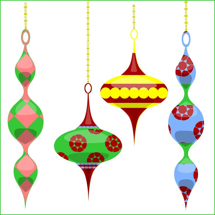 Christmas clip art retro chic ornaments christmas for Holiday christmas ornaments