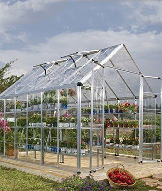 """Snap N' Grow Greenhouse 8' x 12' by Burpee. $1398.95. This easy to use greenhouse offers plenty of room and light (over 90% transmission) for your plants. The smart, efficient structure uses crystal-clear polycarbonate greenhouse panels. With a split-style door and large adjustable vent window. Easy to assemble; low maintenance. Dimensions of 8' x 12': 148"""" L x 98"""" W x 102"""" H (at center)."""