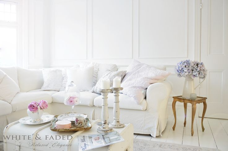 White living room - White & Faded cushions