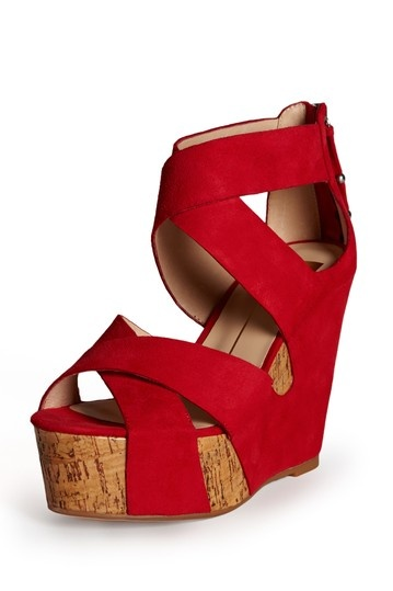 Red cut-out wedge