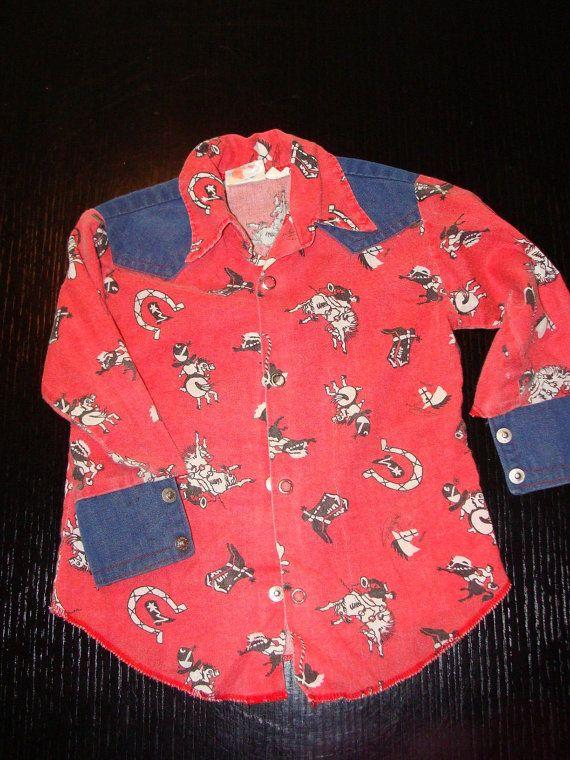 Vintage kids cowboy shirt western wear Paulyne of Arizona size 4t