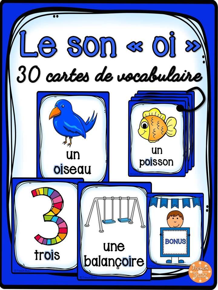 """30 cartes de vocabulaire avec des mots contenant le son """"oi"""". Ces cartes peuvent être utilisées dans des jeux de lecture ou comme référentiel pour ce son."""