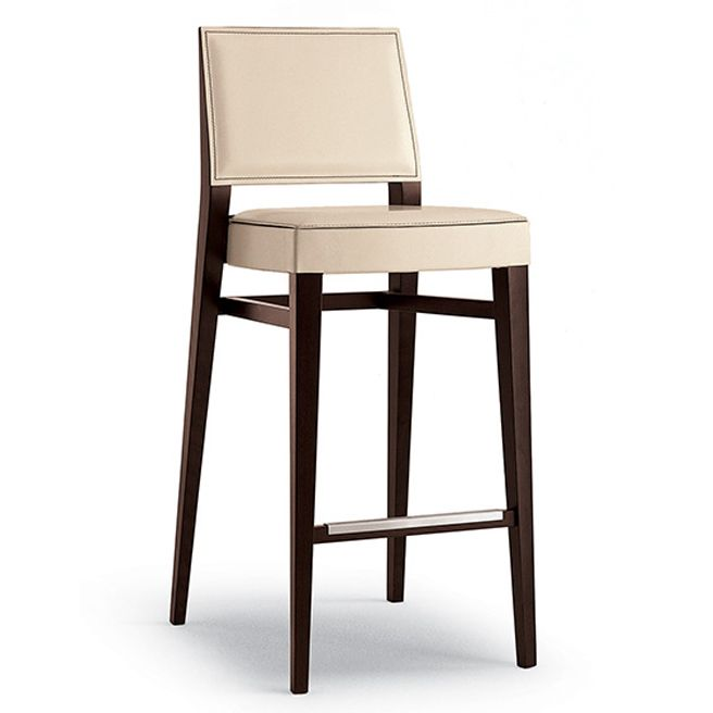 Timberly Barstool in Beech with stainless steel kickplates and upholstered seat and inner back