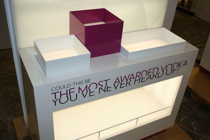 Lit up product display for Purity Vodka. #retail #productdisplay #productdesign #furnituredesign #branding #purityvodka #dawnofideas #wip #workinprogress