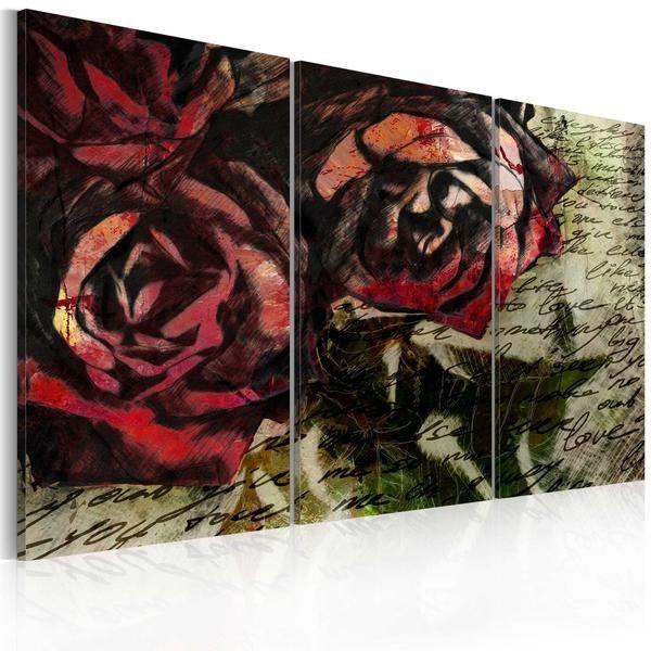 Quadro - Love letter - triptych. Quadro moderno su tela italiana di qualità deluxe. Alta definizione di stampa e bordi rivestiti. Pronto da appendere.Cm 120x80 a €97,99 #quadrivintage #quadrisretro  #vintage #ilydecor