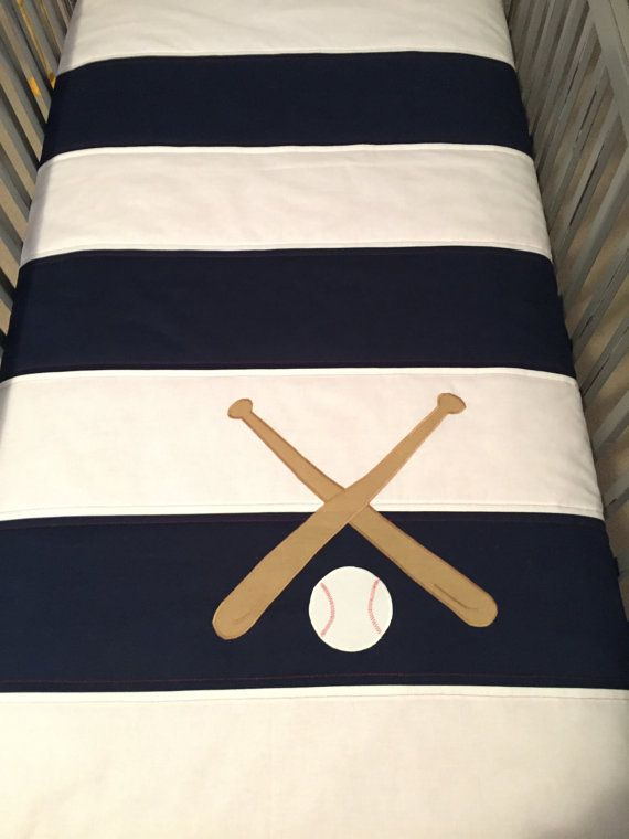 Baseball Crib/Toddler Quilt in Navy and White or your by shilohmae