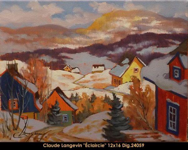 Claude Langevin original oil painting on canevas #claudelangevin #art #artist #canadianartist #quebecartist #originalpainting #oilpainting #countryscene #winterscene #balcondart #multiartltee