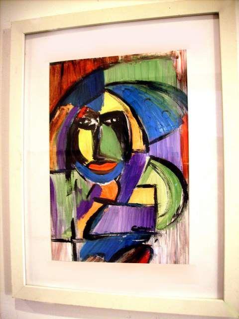 """Grande dipinto astratto COZZANI """"Pagliaccio Street"""" olio Sironi"""