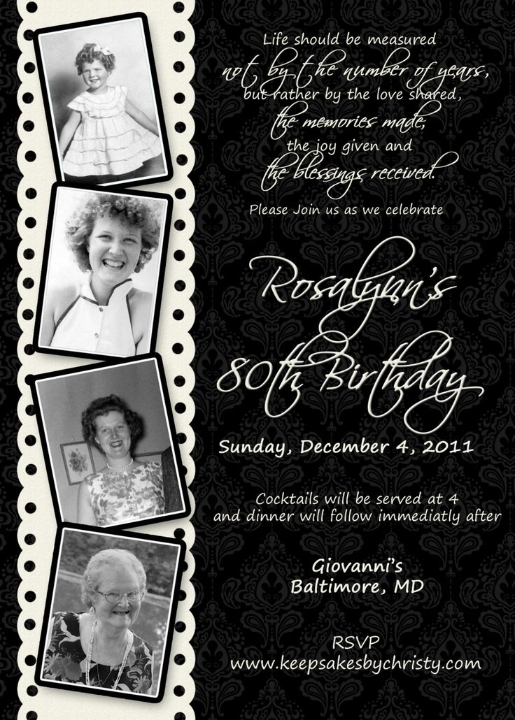 Custom Birthday Invitation... $10.95 USD, via Etsy.  My Grandmother's 90th birthday is in October, time to start planning!