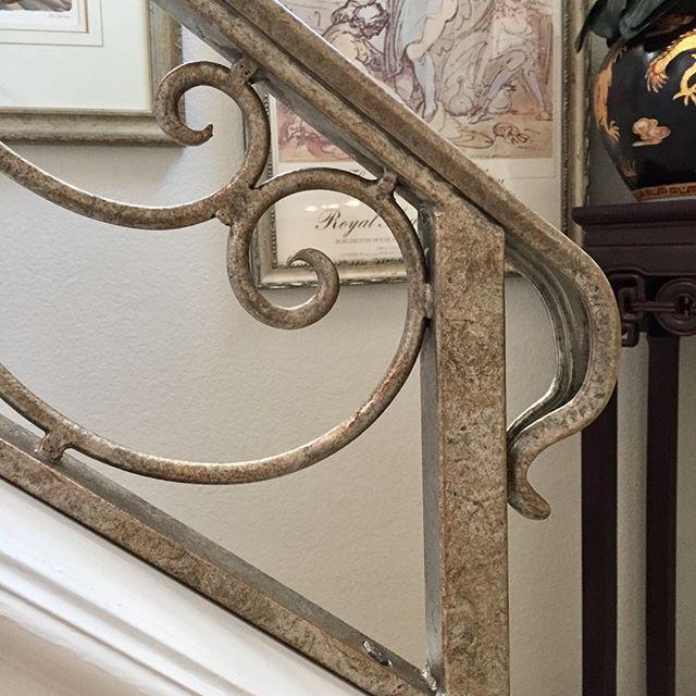 Modern Masters Metallic Paints elevated a plain iron staircase railing | Staircase Ideas | Project: Jennifer Bass Art