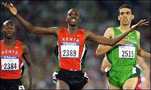 Noah Ngeny | BBC SPORT | ATHLETICS-TRACK | Ngeny upsets favourite El Guerrouj. OS guld 1.500 meter 2000 Sydney.