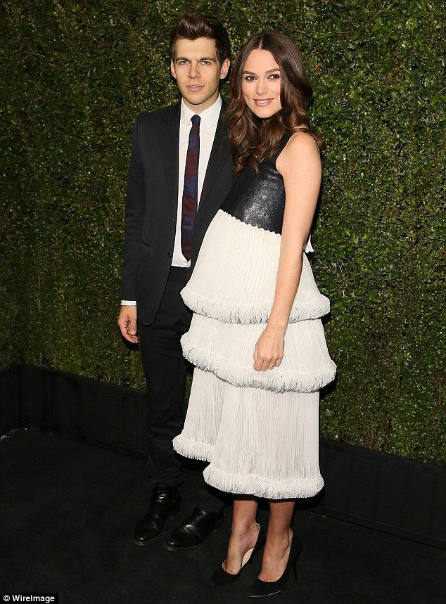 James Righton and Keira Knightley (in Chanel) - At the Chanel And Charles Finch Pre-Oscar Dinner.  (February 21, 2015)