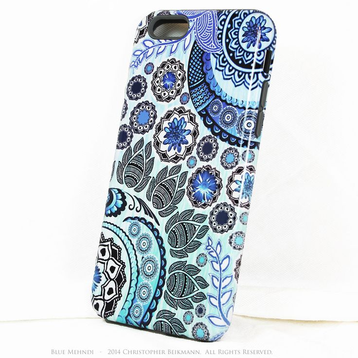Artistic Paisley iPhone 6 6s Case Blue Mehndi – Design 119 TOUGH model dual layer artisan iPhone 6 6s case by Da Vinci Case of New Mexico, USA - The Case - The Art - More Art Accessories This iPhone T