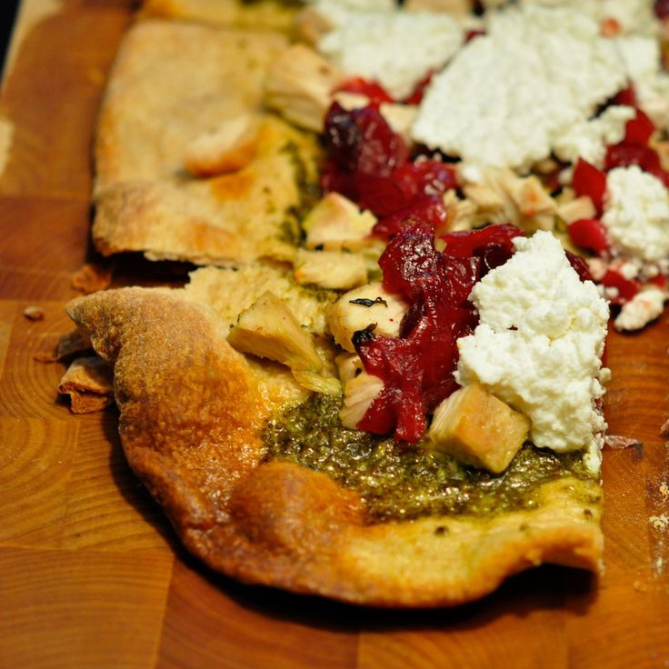 Thanksgiving Leftovers: Turkey & Cranberry Sauce Pizza