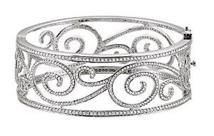 14K White Gold 5 1/8 Cttw Pearl Diamond Bangle Bracelet