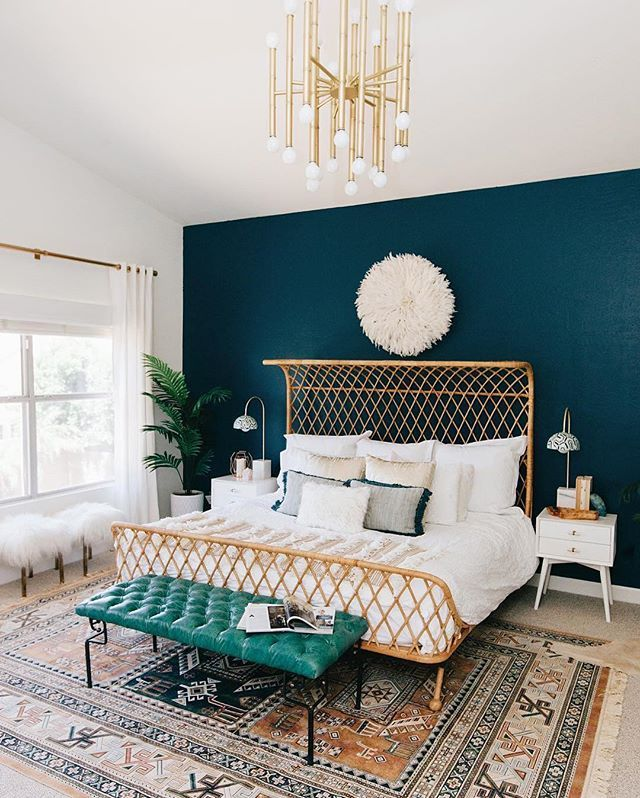 Our latest bedroom makeover featured today on @anthropologie! Put us here and we might never get out of bed again. Design by: @decorist  #realtalk #regram @avestyles (link in profile to shop the bed frame, blanket and lamps)