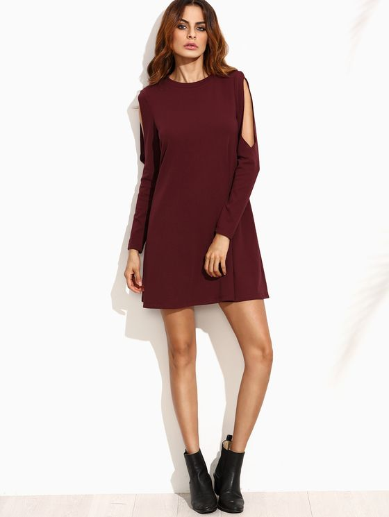 Online shopping for Burgundy Open Shoulder Swing Dress from a great selection of women's fashion clothing & more at MakeMeChic.COM.