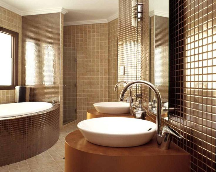 Bathroom Design With Modern Home Designs Beige Walls Brown Bedroom Interior Design Ideas Color Floor Is Equipped A Double Sink Bath Mirrors The Glass Window. 10 Best images about small Bathroom Design Ideas on Pinterest