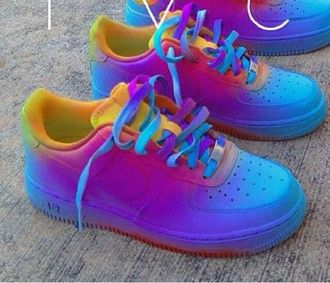shoes colorful nike air force 1 af1 air force 1 air force ones yellow red purple blue air force one multicolor sneakers rainbow