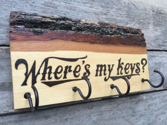 Wood burned key holder rack Where's My Keys by BlueMarket on Etsy