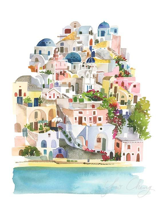 Santorini Watercolor Art Print от YaoChengDesign на Etsy