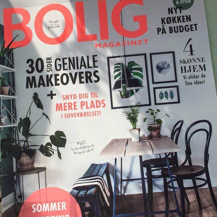 Vertical monstrea leaves on the front page of a Danish interior magazine. 'Bolig magazine'