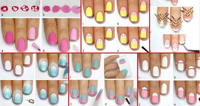 Pomocou týchto obrázkových návodov si vytvoríte originálne vzory na vaše nechty. Budete potrebovať rôzne farby lakov na nechty a tenkú lepiacu pásku. Návody sú veľmi jednoduché a určite to zvládnete aj vy.