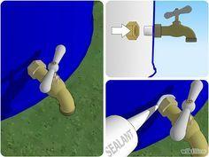 Ici, le robinet est fixé au silicone. Le joint torique remplit également très bien cette fonction.