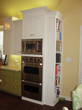 built in oven and cook book storage