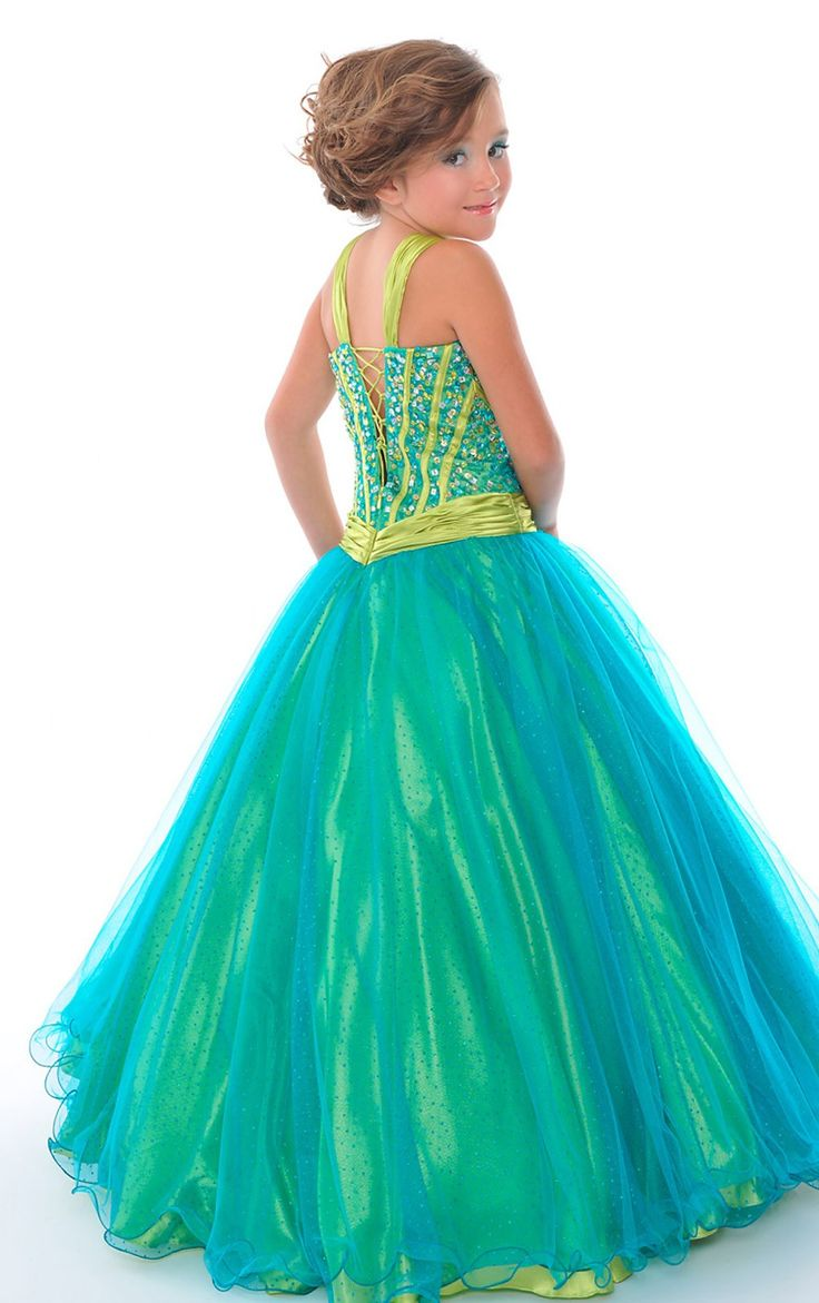 Green dresses for 9 year old organza floor length v neck for Dresses for 10 year olds for a wedding