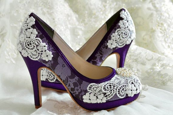 Wedding Shoes - Custom Colors 120 Choices - PBT-0382 Vintage Bridal Shoes-  Lace , Pearl Brooch, Women's Bridal Shoes