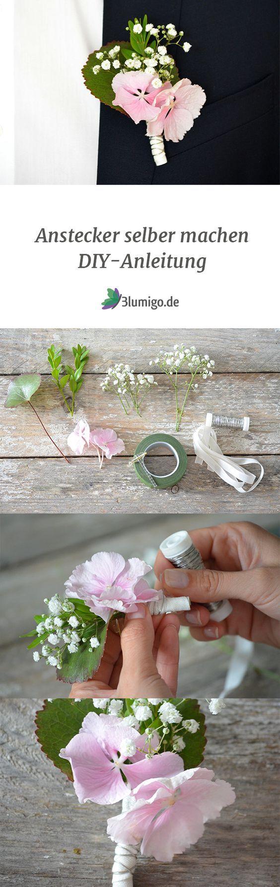 Anstecker für den Bräutigam selber machen – DIY Anleitung: Auf unserem Blumenblog zeigen wir euch eine Anleitung, wie ihr einen kleinen Anstecker mit Hortensienblüten und Schleierkraut ganz einfach selber basteln könnt. #blumen #schnittblumen #blumendeko #floristik #hochzeitsdekoration #hochzeit #hochzeitsdeko #hochzeitsblumen #sommerhochzeit #herbsthochzeit #onlineshop #saisonblumen #anstecker #DIY-Anleitung #hortensien #april #mai #juni #juli #august #september #oktober