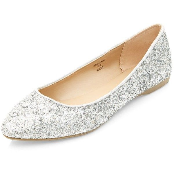 Wide Fit Silver Glitter Ballet Pumps (£6) ❤ liked on Polyvore featuring shoes, pumps, flats, silver, silver pointed toe pumps, pointed toe ballet flats, silver ballet flats, silver glitter pumps and wide width ballet flats