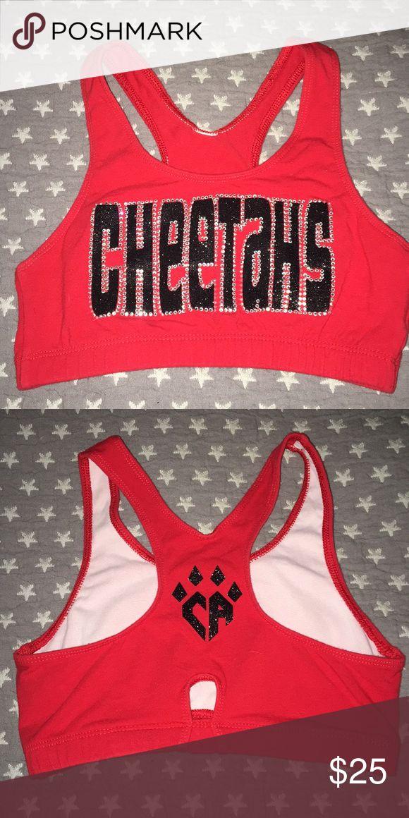 Red Cheer Athletics Cheetahs sports bra Red/black bling Cheer Athletics Cheetahs sports bra AS Tops
