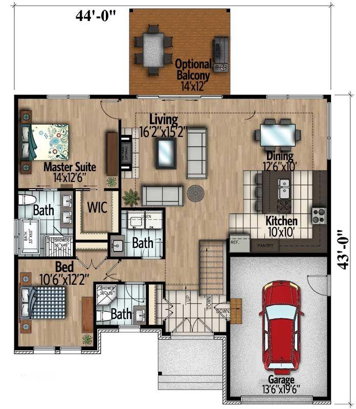 Plan 90295pd Split Level Contemporary House Plan Contemporary House Plans House Plans Tiny House Floor Plans