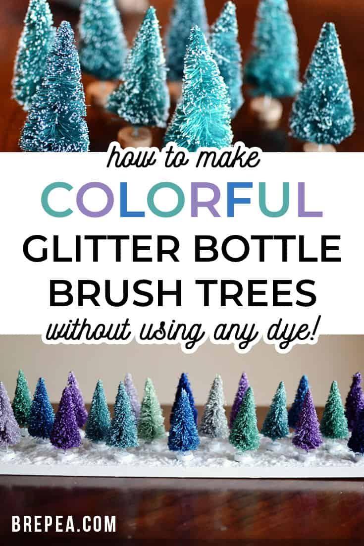 Colorful Glitter Bottle Brush Christmas Tree Display Bre Pea In 2020 Bottle Brush Christmas Trees Bottle Brush Trees Christmas Crafts Diy