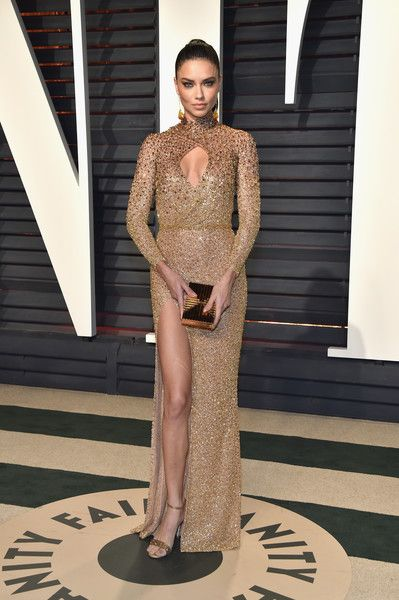 Adriana Lima in a Sexy Gold Beaded Number - The Most Fabulous Metallic Dresses at the 2017 Oscars - Photos