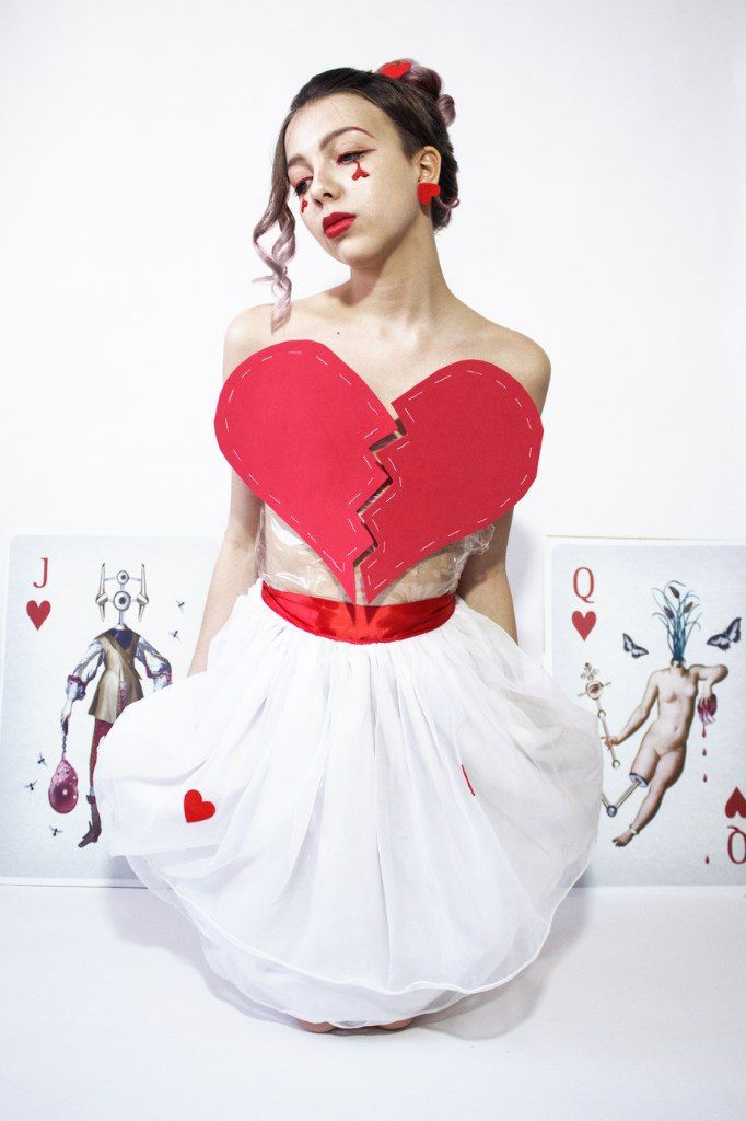 I wanted to create my own Queen of hearts image. The dress designed by me. Huge maps from the talented designer Randy Mora complement my image. #handmade #dress #fashion #red #hearts #makeup