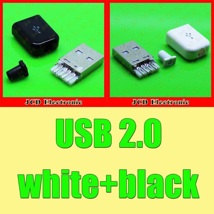 20sets USB2.0 Male Plug Connector male USB Jack with Plasitc Cover Solder 3-Piece  white +  black #Affiliate
