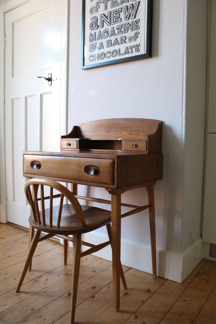 1950s Ercol desk and matching chair. 60 courier LONDON