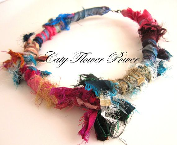 Textile Necklace Silk Colourful Necklace Cord by catyflowerpower