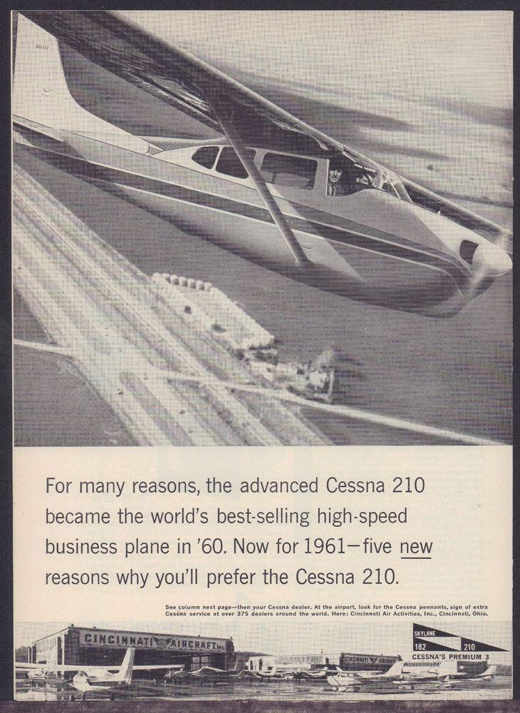 1961 CESSNA 210 Aircraft AD Aviation Vintage Antique Plane Advertising