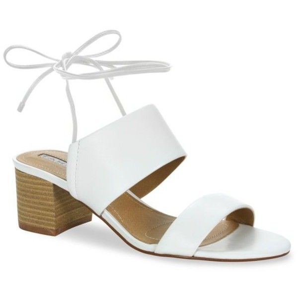 Tahari White Doe Tie Back Mid Heel Sandals - Women's found on Polyvore featuring shoes, sandals, heels, white, slip on sandals, white sandals, slip on shoes, pull on shoes and slip on heels shoes