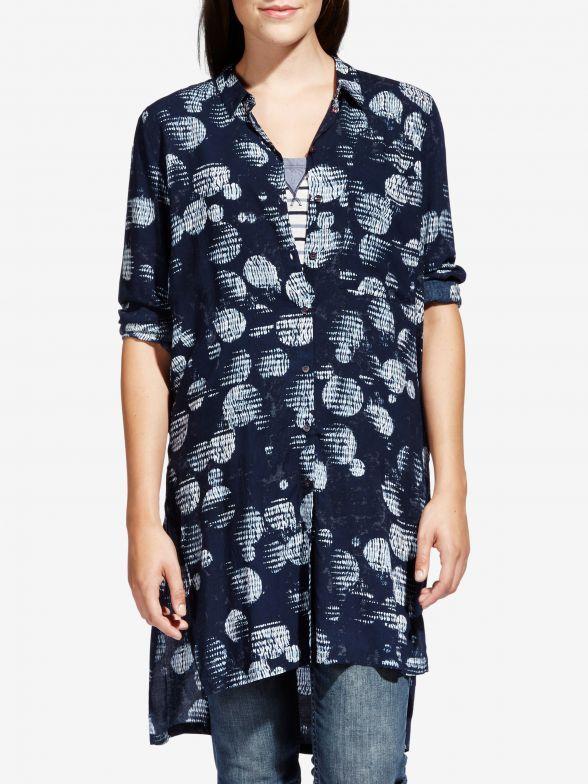 Lange blouse met bubbelprint - Navy