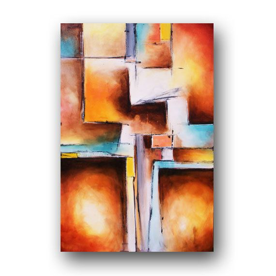 ART Painting Abstract Painting Contemporary Art Teal and Peach Painting Large Original Abstract Painting on Canvas Geometric Wall Decor Day via Etsy