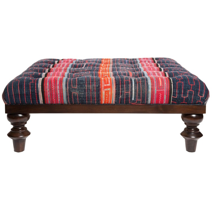 Vintage Hilltribe Davenport Ottoman- Intricately upholstered and sewn