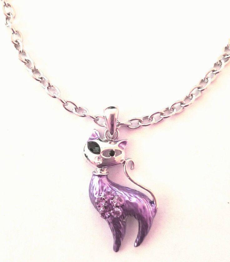 La Coqueta Jewelry Fashion Women's Purple Tone Cat Silver Color Chain Rhinestone Pendant Necklace by LaCoquetaJewelry on #Etsy