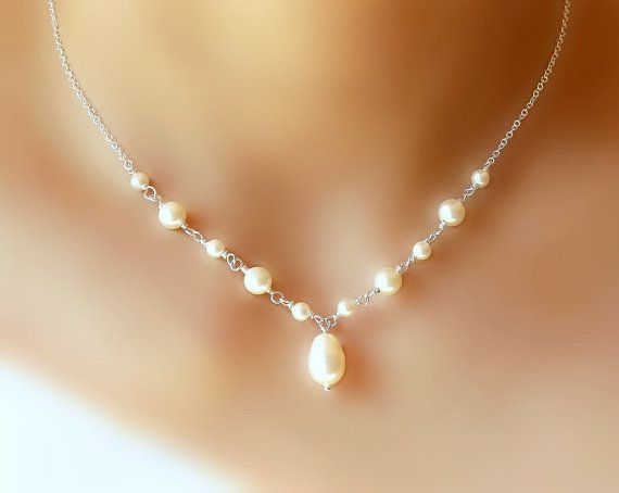 Pearl Necklace -Sterling Silver- Bridal, Bridesmaid gifts, Anniversary Gift by StarringYouJewelry